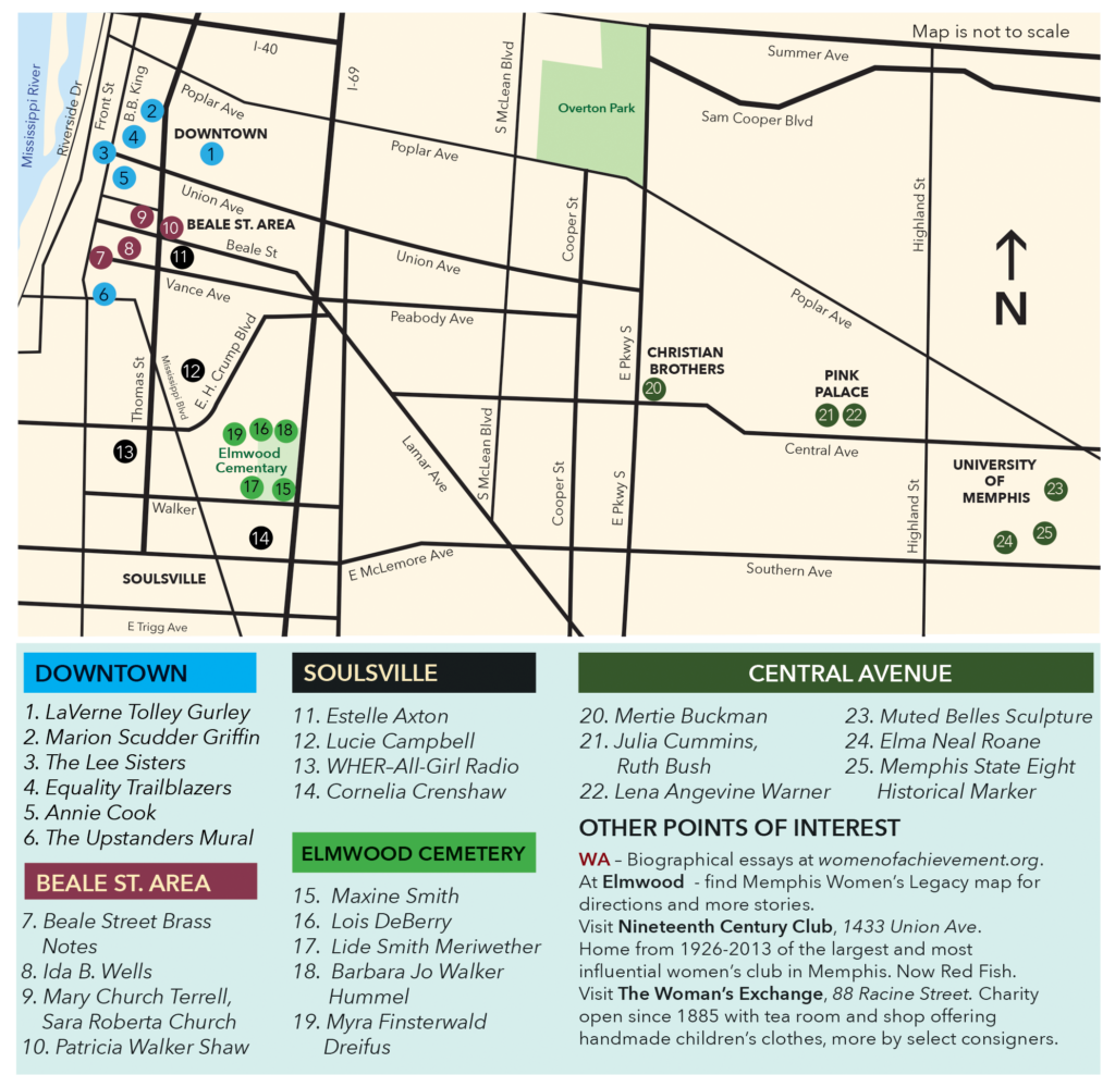 Memphis Women's Legacy Map, Memphis Women's Legacy Trail, Women of Achievement, Memphis Area Women's Council